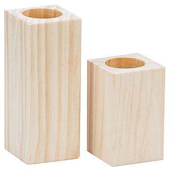 Teelichthalter-Set aus Holz, 2 Stück