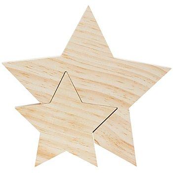 Étoiles en bois, 26 cm et 15,5 cm, 2 pièces
