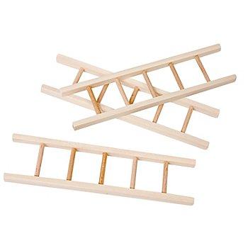 Mini-échelles en bois brut, 15 x 4 cm, 3 pcs.