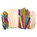 Languettes en bois naturel et coloré, 2 dimensions différentes, 200 pièces