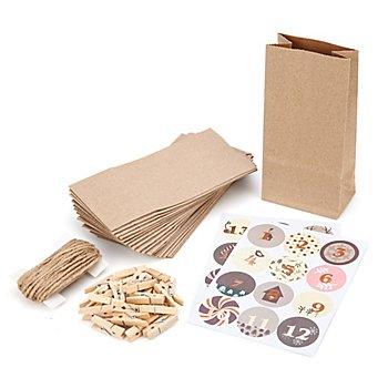 Adventskalendertüten-Set, braun, 24 Stück