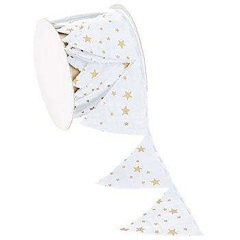Stoffband Ziehstern 'Sterne', weiß-gold, 5 cm, 2,5 m