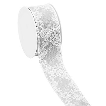 Ruban en tissu avec de la dentelle, gris/blanc, 40 mm, 2,5 m