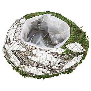 Pot de plantation en mousse et écorce, blanc/vert, 25 cm Ø