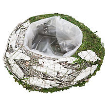Moos-Rinden-Pflanztopf, weiß-grün, 25 cm Ø