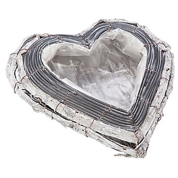 Rattan-Pflanz-Herzschale, grau-wash, 29 x 28 cm