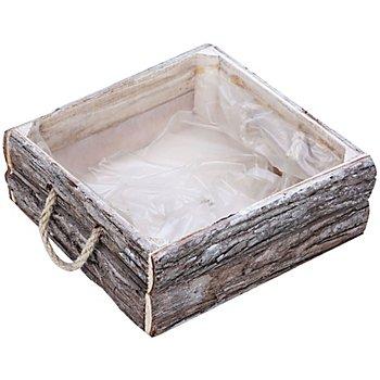 Corbeille en écorce, blanc délavé, carrée, 25 x 25 cm