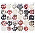Weihnachtskugel-Mix aus Kunststoff, 60 Stück, dunkelgrau, wollweiß, rose, silber, 6 cm und 7 cm Ø