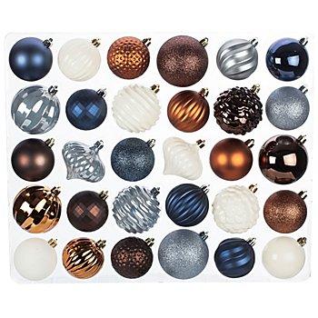 Weihnachtskugel-Mix aus Kunststoff, 60 Stück, blau, rostbraun, weiß, 6 cm und 7 cm Ø