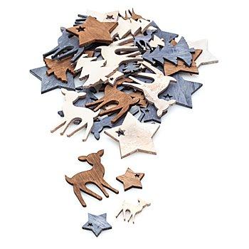 Streuteile 'Stern, Reh, Tanne', 2 und 4 cm, 40 Stück