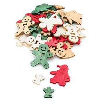 Streuteile 'Weihnachtsmann, Engel, Lebkuchen', 2 und 4 cm, 40 Stück