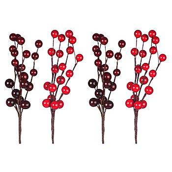 Beeren-Pick, hell- und dunkelrot, 4 Stück