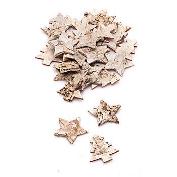 Sterne und Bäume aus Birkenrinde, 3,2 und 4 cm, 30 Stück