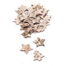 Étoiles et sapins en écorce de bouleau, 3,2 et 4 cm, 30 pièces