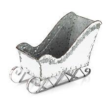 Metall-Schlitten, weiß-silber, 33 x 15 cm