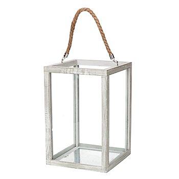 Holz-Laterne mit Glas, weiß-gekalkt, 30 cm