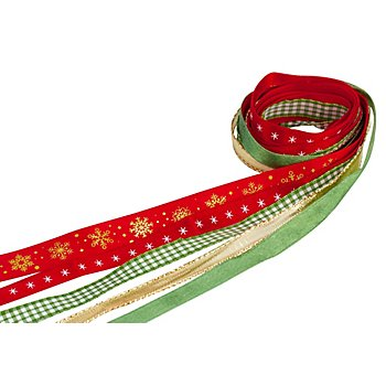 Set de rubans 'Noël', vert sapin/rouge, 10-15 mm, 5x 2 m