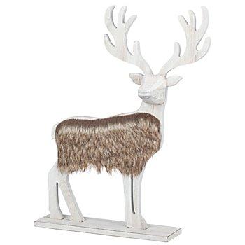 Holz-Hirsch mit Kunstfell, 35 cm
