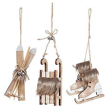 Motifs en bois à suspendre 'skis, luge, patins à glace', 8 - 15 cm, 3 pièces