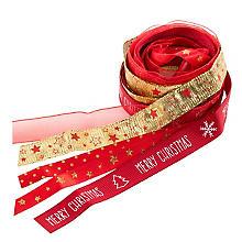 Set de rubans, rouge/doré, 10 - 15 mm, 5x 2 m