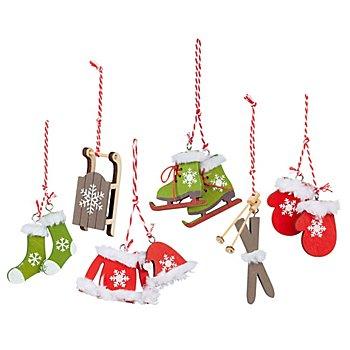 Holz-Hänger 'Weihnachten', rot-grün-taupe, 3 - 7,5 cm, 6 Stück