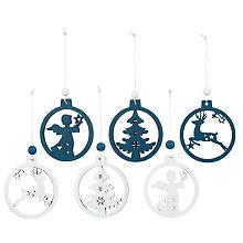 Holz-Hänger 'Engel, Baum, Elch', blau/weiß, 6 Stück