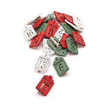 Holz-Adventskalenderzahlen, rot, weiss, grün, 5 x 2,5 cm