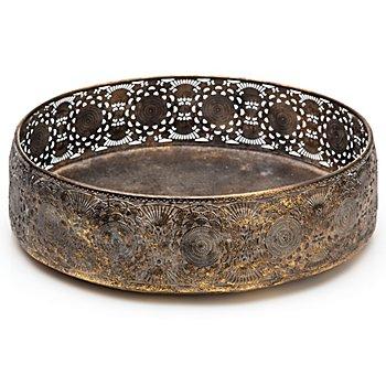 Coupe en métal, marron/or, 28 cm Ø