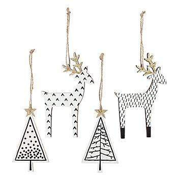 Motifs en bois à suspendre 'cerf & sapin', 11 - 14 cm, 4 pièces