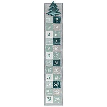 Calendrier de l'Avent, turquoise/gris, 97 x 17,5 cm