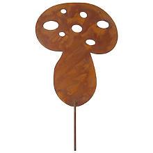 Champignon 'aspect rouille' en métal, marron, 25 cm