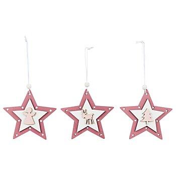 Holz-Hänger 'Stern', rosa, 10,5 cm, 3 Stück