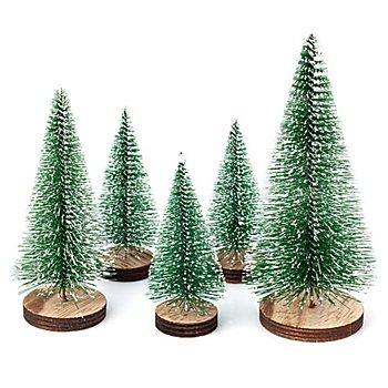 Deko-Tannenbäume, beschneit, 9–14,5 cm, 5 Stück