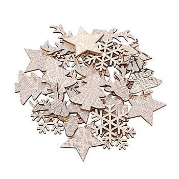 Streuteile 'Weihnachten', mit Glanzfolie, 3,5 - 4 cm, 24 Stück
