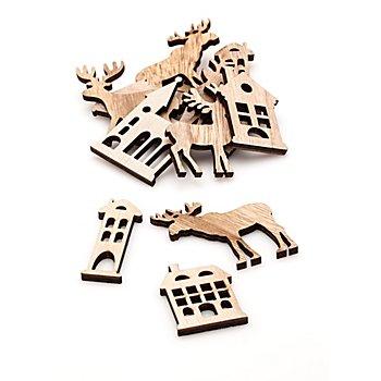 Streuteile 'Elch, Kirche, Haus', braun, 12 Stück