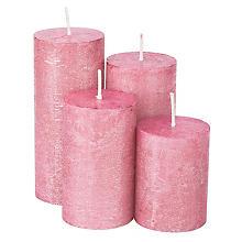 Bougies rustiques, rose métallique, 4 hauteurs différentes, 4 pièces