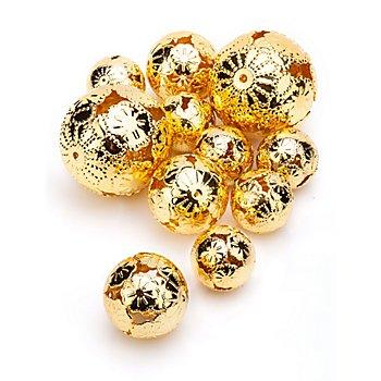 Metallkugeln gold, 2,5 cm, 3 cm und 5 cm Ø, 11 Stück