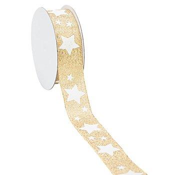 Ruban lamé 'étoiles', or/blanc, 25 mm, 5 m