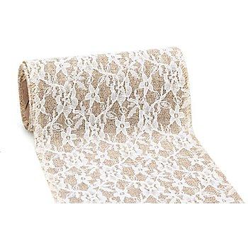 Ruban dentelle en toile de jute, marron/blanc, 15 cm, 2 m
