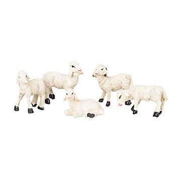 Schafe, weiß, 2,5 x 2,5 cm, 5 Stück