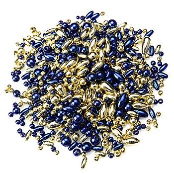 Perlenmischung, dunkelblau-gold, 4–12 mm, 80 g