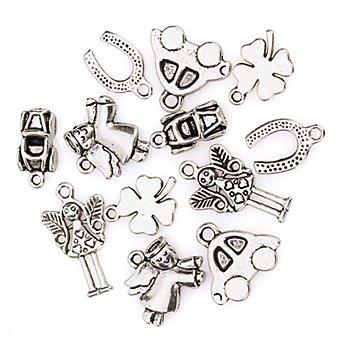 Set de pendentifs 'porte-bonheur', argenté, 1 - 2,5 cm, 12 pièces