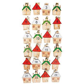 Adventskalenderzahlen 'Häuschen' mit Klammer, 3 x 3,5 cm
