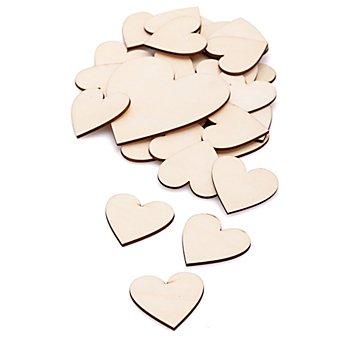Holz-Herzen, natur, 36 Stück