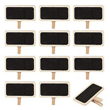 Mini-Holztafeln auf Klammer, 12 Stück