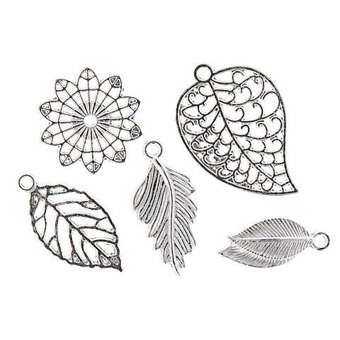 """Image of Anhänger """"Blätter"""", silber, 2,3&ndash_3,2 cm, 24 Stück"""