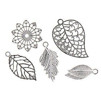 Anhänger 'Blätter', silber, 2,3–3,2 cm, 24 Stück
