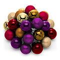 Weihnachtskugeln am Draht, beere, dunkelrot, hellgold, rostbraun, 2 cm Ø, 24 Stück