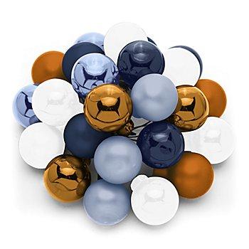 Weihnachtskugeln am Draht, dunkelblau, stahlblau, rostbraun, wollweiß, 2 cm Ø, 24 Stück