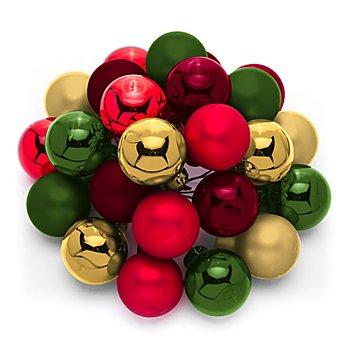 Weihnachtskugeln am Draht, hellgold, dunkelrot, rot, grün, 2 cm Ø, 24 Stück